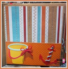 My Summer Mini Album. I made a bow with the Totally Red Trendy Twine and placed it on the side of the pail. I wrapped Totally Sky Trendy Twine on my anchor. SVG Attic Cutting Files
