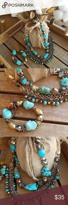 Gorgeous  3 piece  Gold and Turquoise set Like New, worn once for a wedding.  Necklaces can be worn alone but look great paired together. Bracelet is elastic so stretches and is comfortable.  Will sell items  separately  if asked! dillards Jewelry Necklaces