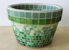 Basil Mosaic herb container by HalleyDawn on Etsy