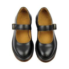 Indica Dr Martens Retro 60s Vintage Mary Jane Shoes Black ($123) ❤ liked on Polyvore featuring shoes, black pointed shoes, vintage shoes, mary jane shoes, dr martens shoes and leather shoes