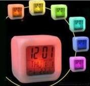 Hot Selling 7-Color Linght Discolor Alarm Clock Temperature Date Time Colorful LED Desk Table Analog-Digital Home Decor