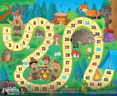 Lunarable Board Game Pet Mat for Food and Water, Camping Boys and Girls in Nature Forest Animals Trees Mushrooms Daisies Fun Joy, Rectangle Non-Slip Rubber Mat for Dogs and Cats, Multicolor Board Game Template, Printable Board Games, Templates Printable Free, Fun Games, Games For Kids, Games To Play, Class Games, Sorry Board Game, Bord Games