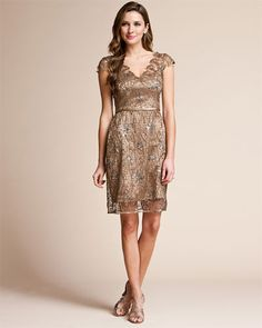 LOVE THE COLOR OF THIS ONE!!!!  Kay Unger Bronze Lace Dress/ Shimmer/ Shine/ Sparkle/ Loving the detailing in the neck and shoulder