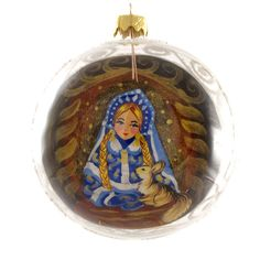 Snow Maiden Reverse Hand Painted Christmas by HolidayGiftShops
