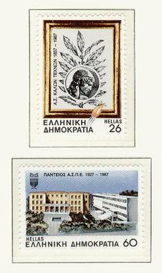 """Το Ελληνικό Γραμματόσημο(1 Οκτωβρίου) Έκδοση """"150 Χρόνια Ανώτατης Σχολής Καλών Τεχνών και 60 Χρόνια Παντείου Ανωτάτης Σχολής Πολιτικών Επιστημών""""1987 Stamp Collecting, Postage Stamps, History, Frame, Greece, Decor, Collection, Picture Frame, Greece Country"""