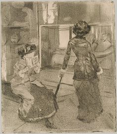 ((One of the most famous Degas works)) Edgar Degas - Mary Cassatt at the Louvre; The Etruscan Gallery. 1879–80. Softground etching, drypoint, aquatint, and etching, third state of nine.