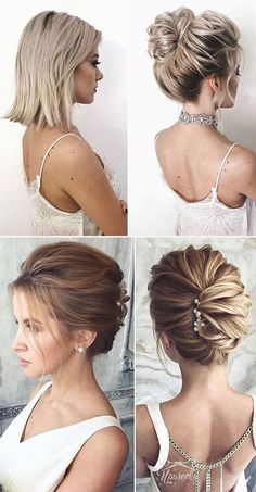 30 Gorgrous Wedding Hairstyles Ideas for Modern Bride classic updo wedding hairstyle for medium leng Short Hair Updo, Short Wedding Hair, Wedding Hair And Makeup, Wedding Updos For Shoulder Length Hair, Shoulder Length Updo, Shoulder Length Hairstyles, Classic Wedding Hair, Boho Wedding, Wedding Blog