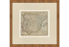 antique spain and portugal map, 1788