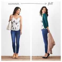 5 Ways to Transition from Summer to Fall (NOTE: fall look. would like perfect-length jeans in dark wash)