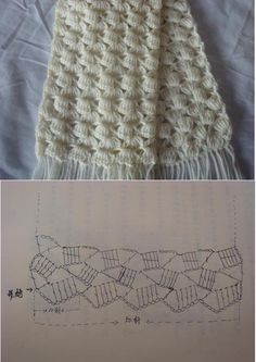 Crochet white scarf ♥LCP-MRS♥ with diagram----Patrones Crochet: Patron Crochet Bufanda