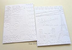 Paris Memories & Paris-French Bistro Embossed Cards - Set of 4 white A2 embossed cards or Choose Your Colors by StudioIdea on Etsy
