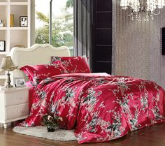 The Peacock In The Flowers Red Silk Duvet Cover Set Silk Bedding Bed Sheets Online, Cheap Bed Sheets, Cheap Bedding Sets, Bedding Sets Online, King Bedding Sets, Luxury Bedding Sets, Black Bed Linen, Silk Bedding, Luxury Bedding Collections