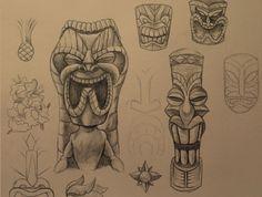 tiki tattoo | Tiki sketch studies for a tattoo commission.