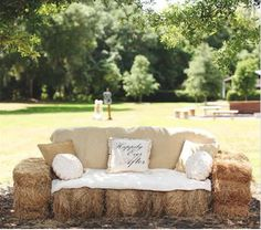 Florida Ranch Wedding The coolest lounge idea for a rustic wedding - hay bales made into a couch! {Vine & Light Photography}The coolest lounge idea for a rustic wedding - hay bales made into a couch! Wedding Tips, Summer Wedding, Dream Wedding, Wedding Day, Wedding Hacks, Wedding Couples, Wedding Bonfire, Wedding Reception, Field Wedding