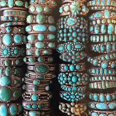 Stacks of vintage Navajo and Zuni turquoise bracelets at Shiprock Santa Fe in Santa Fe, New Mexico. Such a healing stone! Who wants one?