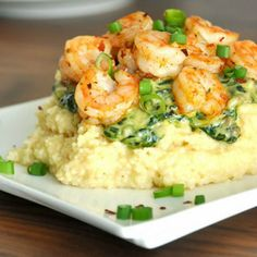 Cheesy Gouda Grits with Savory Spinach Sauce & Seasoned Shrimp >> OMGoodness! I've already had dinner but this makes me soooo hungry! Fish Recipes, Seafood Recipes, Great Recipes, Cooking Recipes, Favorite Recipes, Healthy Recipes, Recipies, Food Porn, Yummy Food
