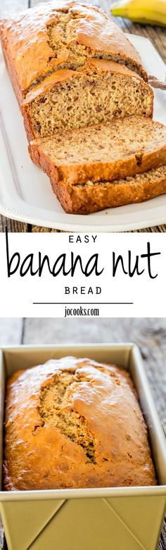 My favorite Super Easy Banana Nut Bread that's super quick to put together, no mixer needed, perfectly sweetened, super moist and delicious! Breakfast Bread Recipes, Quick Bread Recipes, Delicious Breakfast Recipes, Delicious Desserts, Dessert Recipes, Cooking Recipes, Free Recipes, Yummy Food, Banana Nut Bread Easy