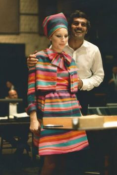 Barbra and Omar recording together for the Funny Girl soundtrack..This photo came from the Funny Girl movie program that was sold in the theater during the film's run. www.facebook.com/photo.php?fbid=10206192180739938