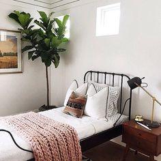 Mantas estampadas, almofadas coloridas, tapetes pequenos, estantes para livros, plantas, flores, caixas, cestos, galeria de quadrinhos..