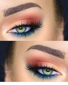 Colorful Eye Makeup, Simple Eye Makeup, Natural Eye Makeup, Eye Makeup Tips, Colorful Eyeshadow, Smokey Eye Makeup, Eyeshadow Makeup, Makeup Brushes, Makeup Ideas