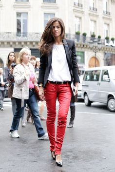 Red leather pants and a white t-shirt.
