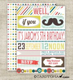 """Well, if you MUSTACHE...""    Mustache Birthday Party Invitations by Cardtopia Designs"