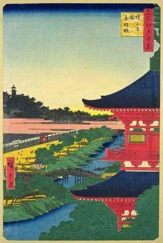 <名所江戸百景 増上寺塔赤羽根 :  ZOJOJI TO AKABANE>  ZOJOJI PAGOTA AND AND AKABANE  HIROSHIGE UTAGAWA  1797-1858  Last of Edo Period
