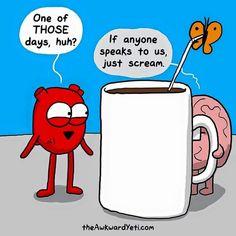 40 Heart and Brain cartoons from The Awkward Yeti — Unreal Side of entertainment Akward Yeti, The Awkward Yeti, Awkward Meme, Heart And Brain Comic, Funny Memes, Hilarious, Jokes, Funny Comebacks, Funniest Memes