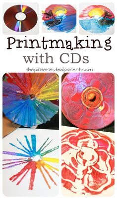 printmaking for kids elementary art Printmaking with CDs - techniques using paint , yarn, Q-tips and paint. Arts and craft ideas for preschoolers and kids. Art Lessons For Kids, Art Lessons Elementary, Projects For Kids, Art For Kids, Art Projects, Kids Printmaking, Classe D'art, Cd Art, Ecole Art