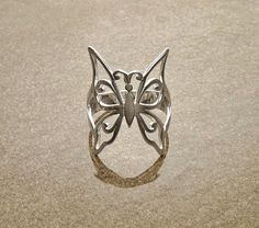 Butterfly Silver Ring - Modern Sterling Silver Filigree Ring with Butterfly Pattern - Lace Ring - Butterfly Ring - Urban Boho Ring.