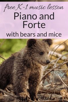 Free Music Lesson: Piano and Forte with bears and mice. This music lesson uses many well-known songs to teach students about piano and forte, relating them to animals. The highlight is having students Preschool Music Activities, Kindergarten Music, Movement Activities, Kids Singing, Singing Lessons, Kids Playing, Elementary Music Lessons, Piano Lessons, Elementary Schools