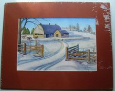 $54.99  Matted Original Watercolour Winter Painting Untitled BY Marion Anderson Utting   eBay #art #winter #barn