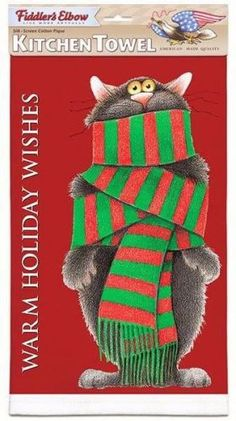 Designer Linnea Riley Holiday Wishes Winter Cat Dish Towel - 100% Cotton Pique, MADE IN USA