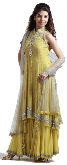 Yellow net suit with sharara - LEHENGAS - WOMEN'S WEAR