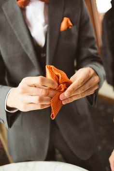 Charcoal gray and burnt orange wedding