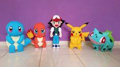 Kit com 5 itens    Tamanho aproximado do Ash 50cm  Tamanho aproximado dos 4 pokémons 40cm    Personagens:  Ash Ketchum  Pikachu  Charmander  Squirtle  Bulbassauro    Também vendidos separadamente, e  pode ser feito qualquer outro pokémon.