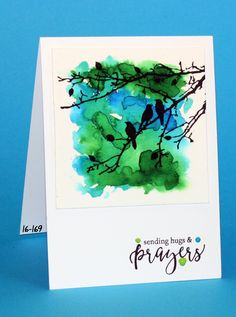 Simon Says Stamp sentiment from friendship blooms, Ranger enamel accents, ecoline and , tree branch from Joy! Alcohol Ink Crafts, Alcohol Ink Painting, Guache, Bird Cards, Watercolor Cards, Watercolour, Sympathy Cards, Paper Cards, Cute Cards