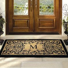 """Courtyard Coco Monogrammed Door Mat - 30"""" x 48"""" - Frontgate by Frontgate. $89.00. Entry mat quickly whisks dirt and debris away from shoes. Weather-, fade-, and mildew-resistant door mat. View complete care instructions. Skid-resistant backing locks fibers in place to minimize shedding. Natural coir fibers are compressed into a dense pile for ultimate durability. Natural coir fibers are compressed into a dense pile for ultimate durability. Entry mat quickly whisk..."""