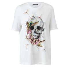 ALEXANDER MCQUEEN Floral Skull Motif Cotton T-Shirt ($350) ❤ liked on Polyvore
