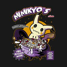 Pokemon T-Shirt by Soulkr. Mimikyo's is a breakfast cereal parody t-shirt for fans of Mimikyu and Pokemon. The favorite cereals of your ghosts.