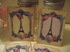 Shabby Chic Note Cards Pastel Blue Pastel Pink Distress by mslizz, $4.75