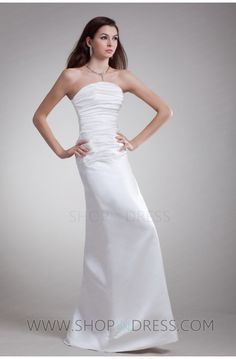 White Hourglass A-Line Natural Strapless Beach/ Destination Wedding Dress Strapless Gown, Satin, Prom Dresses, Formal Dresses, Wedding Moments, Stunning Dresses, Dress For You, Trendy Fashion, One Shoulder Wedding Dress