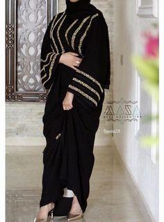Only add beadwork to the sleeves - Masa Abaya Niqab Fashion, Modesty Fashion, Muslim Fashion, Fashion Outfits, Fashion Tips, Estilo Abaya, Hijabi Gowns, Modern Abaya, Mode Kimono