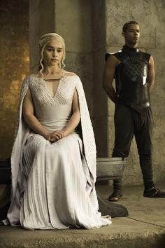 Emilia Clarke as Daenerys Targaryen and Jacob Anderson as Grey Worm (season 5)
