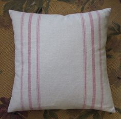 COTTAGE CASUAL Organic cotton red stripes pillow cover by yiayias