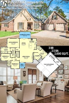Architectural Designs House Plan 51776HZ has an open concept floor plan giving you 3 beds, 2.5 baths and over 2,000 sq. ft. of heated living space. Ready when you are. Where do YOU want to build? #51776hz #adhouseplans #architecturaldesigns #houseplan #architecture #newhome #newconstruction #newhouse #homedesign #dreamhome #dreamhouse #homeplan #architecture #architect #acadianhome #southernhome #brickhome #openconcept