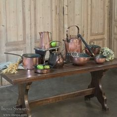 French and European Antique Furniture and Accessories - Inessa Stewart's Antiques Copper Kitchen, Antique Copper, 19th Century, Tea Pots, Friendship, Cups, Antiques, Decoration, Furniture