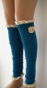 ON SALE Royal blue leg warmers with lace by CarnavalBoutique