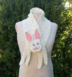 Rabbit scarf Handmade soft Crochet scarf Animal scarf White Hare Children scarf For kid For baby Winter gift Neck warmer Xmas gift - pinned by pin4etsy.com