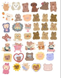 Kawaii Stickers, Cool Stickers, Printable Stickers, Cute Little Drawings, Cute Drawings, Korean Stickers, Photo Collage Template, Cute Patterns Wallpaper, Cute Doodles